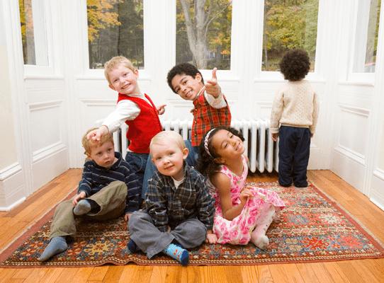 Kids on Oriental Rug